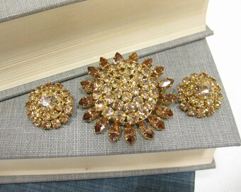 Citrine Colored Austrian Crystal Brooch and Earring Set