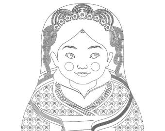 Chinese HanFu  Girl Matryoshka Coloring Sheet Printable file