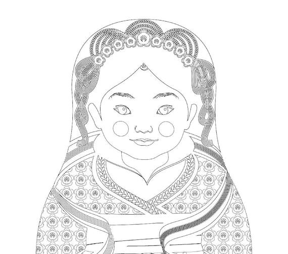 Chinese HanFu Doll Traditional Dress Coloring Sheet Printable