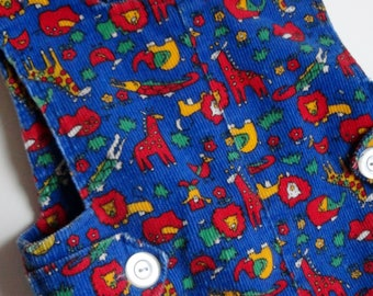1 Vintage UNISEX Kids Jumper - Blue Red Yellow Green Animal Overalls, Lion Elephant Giraffe Alligator, Toddler One Piece, Boys Girls, OOAK