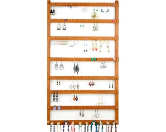 168 Pair Hanging Earring Holder - Jewelry Holder, Cherry, Wood, Necklace Display. 10 pegs.  Wall Mounted. Jewelry Organizer