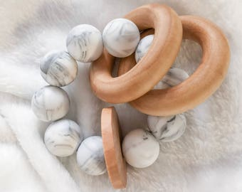 Marble Teether Wooden Silicone Teething Toy Circular Teething Toy Round Silicone Bead Teether Handmade Teether Organic Wood Teether Natural