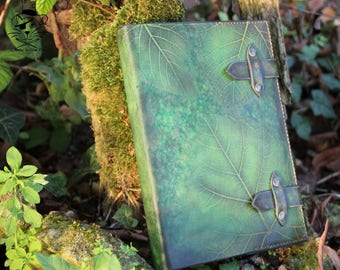 Notebook leather vegetable tanned - foliage