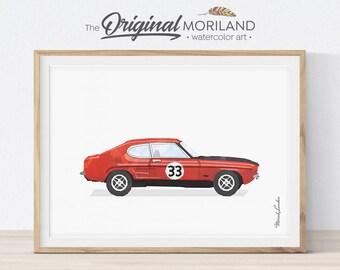 Ford Capri Print, Classic Sport Car, Race Car Wall Decor, Boys Room Decor, Vehicle Print, Transportation Wall Art, Vintage Car Printable