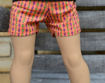 18 inch Doll Clothes - Funky Stripes Shorts - Orange Pink Green - fits American Girl