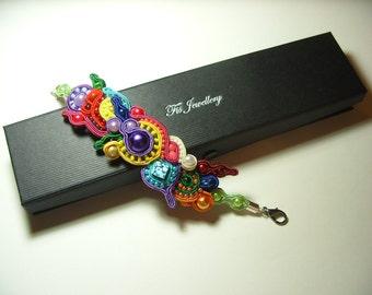 Rainbow soutache bracelet