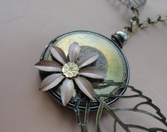 multi-metaled reversible pocket watch case necklace - 353