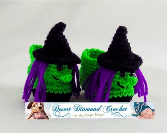 Halloween Witch Baby Booties - 5 Sizes - Made To Order
