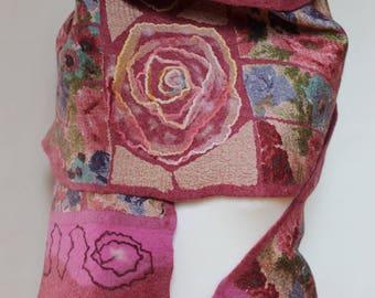 Nuno-scarf, felted scarf, wool/silk, handmade