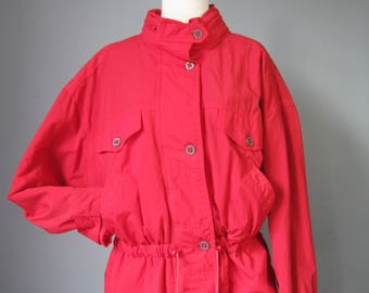 "Red Ski Shell / Vtg 90s / "" At Ease "" Red Ski Shell with hidden hood"