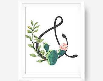 Ampersand Cactus Floral Theme Wall Art Cactus Wall Art Print Apartment Decor Home Decor Office Wall Art Pink Wall Art Cactus Theme Print