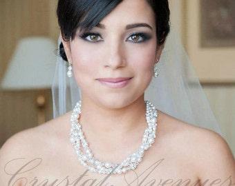 Pearl Crystal Bridal Necklace, chunky wedding necklace Swarovski Wedding Rhinestone, Kaylee 3 strand