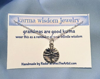 Silver Dragonfly Necklace Karma Wisdom Jewelry With Quote -grandmas are good karma- 925 Silver Necklace Firefly Personalized Gifts