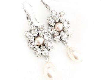 Pale blush Swarovski Rhinestone Bridal Earrings, Swarovski Bridal Earrings, embellished earrings, rhinestone wedding earrings EZRA