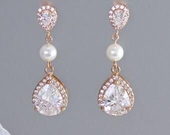 Rose Gold Teardrop Earrings, Rose Gold Bridal earrings, Gold/ Silver Crystal Earrings, Wedding Earrings, TAMARA RG 1P