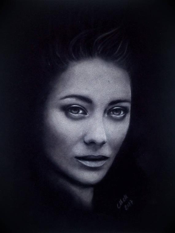 Realistic portrait black and white face woman pastel