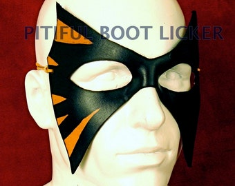 LEATHER MASK Black molded Leather Mask; Batman, Masquerade Mardi Gras, Punk Cosplay Very Comfortable