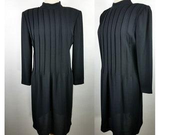 Vintage Saks 5th Ave Black Pleated Long Sleeve Dress