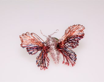 Pink butterfly brooch, insect, shirt, cute pin, pastel, modern hippie, everyday, wire wrapped jewelry, Spring, mother day gift from daughter