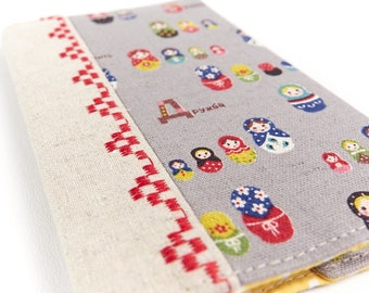 Embroidered Matryoshka Kid's Passport Cover Child Travel Gift Russian Doll Fabric Passport Holder