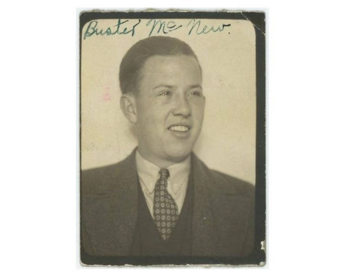 "Vintage PhotoBooth Arcade Photo: ""Buster McNew"" c1930s (75580)"
