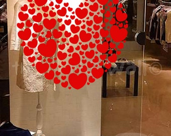 Heart Valentines Day Decorative Glass Window Display, Removable Sticker Australian Made
