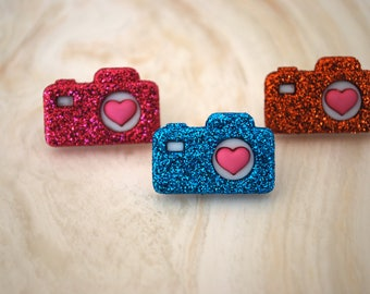 Camera Earrings -- Photography, Glittery Cameras