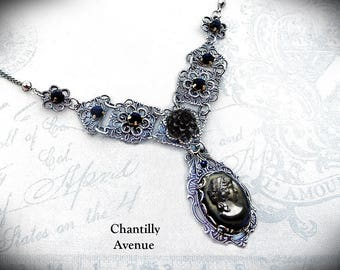 Jet Gothic Cameo Necklace Vintage Style Black Victorian Jewelry Handmade Mourning Choker Silver