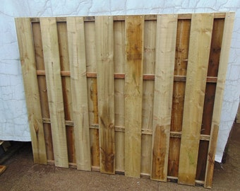 Wooden Garden Hit and Miss Wind Proof Fencing - Flat Top Fence Panel