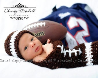PATTERN Football Photo Prop / Cocoon & Hat Set - Crochet