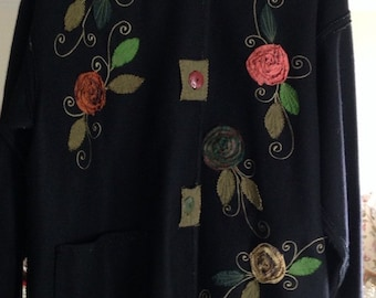 Anage Lightweight Wool Coat With Applique Flowers and Leaves