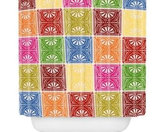 Marvelous Shower Curtain, Fiesta Patchwork, Mexican, Papel Picado, Flowers, Bathroom  Decor,