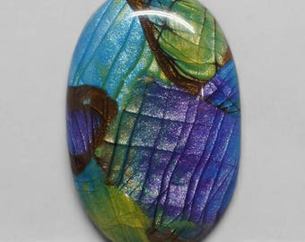 Faux Labradorite Oval Cabochon, Purple, Blue, Green, Yellow and Brown