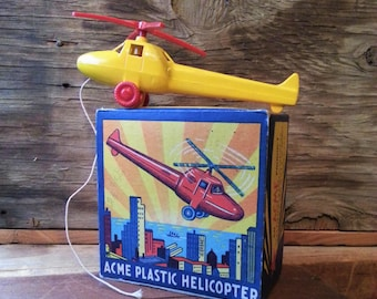 Vintage Acme Helicopter Toy w/ Box -  Mid Century Hard Plastic Helicopter Pull Toy by Acme Plastics, New York, NY
