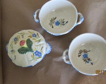 Nova Rose Majolica Italian blue dot dash bowls.