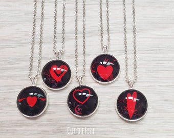 Black Heart Pendant - Black Heart Necklace - Black Heart Jewelry - Art Jewelry - Jewelry - Gift for Her - Valentine's Day Gifts (21-04N)