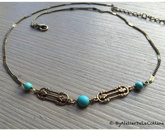 Art deco necklace with turquoise, Agatha collection