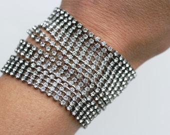 1950s multi-strand rhinestone snake bracelet / 50s vintage very wide sparkly clear white rhinestone silver tone bracelet / 50s prom or bride