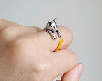 Cat Ring, Custom Colored Animal Wrap ring, Birthday Gift, Kitty Ring