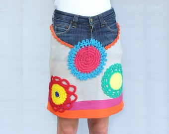 Denim Recycled Skirt, Patchwork Denim, Boho Gypsy Hippie, Upcycled Clothing, Girl Clothes, Rainbow, Colorful, Flowers