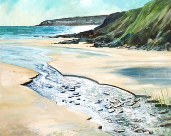 Giclee print, cornish seascape, coastal art, made in Cornwall, Portscatho