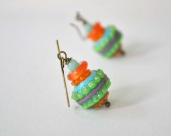 Colorful Earrings, Lampwork Earrings, Glass Bead Earrings, Mint Purple Orange Earrings