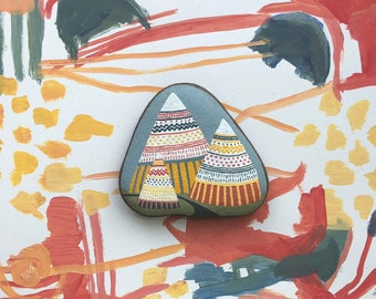 Hand Painted Rock: Three Mountains and River, nature art, eco art, home decor