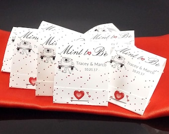 200 mint to be wedding favors, car of hearts mint to be favors, red heart wedding favors, personalized mints