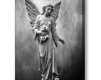 Black White Angel Fine Art Photography on Giclee Gallery Wrap Canvas, Grief Mourning Death, Cemetery Angel, Religious Art