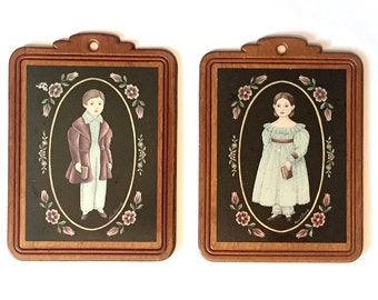 Decoupage Country Kids Plaques, Vintage Wooden Colonial Children Plaque Set, Colonial Kids Wall Decor, Two Colonial Wood Wall Hangings