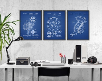 Motion Picture Camera Print Set Of 3 - Movie Theater Home Decor - Movie Patents Gift - Film Reel Art Print - Motion Picture Projector