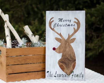 Customized Rudolph Merry Christmas Wood Sign