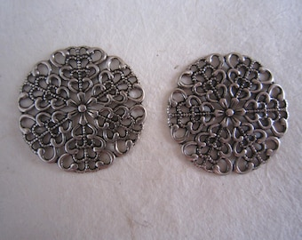 Set of two (2) prints soft round inspired antique silver flower - 25 mm