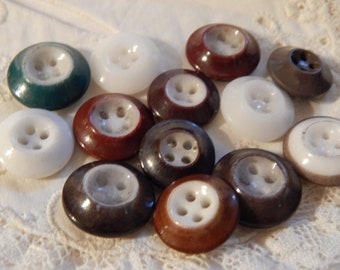 Inkwell China Buttons - Four Holes  Larger Size - 13 Buttons